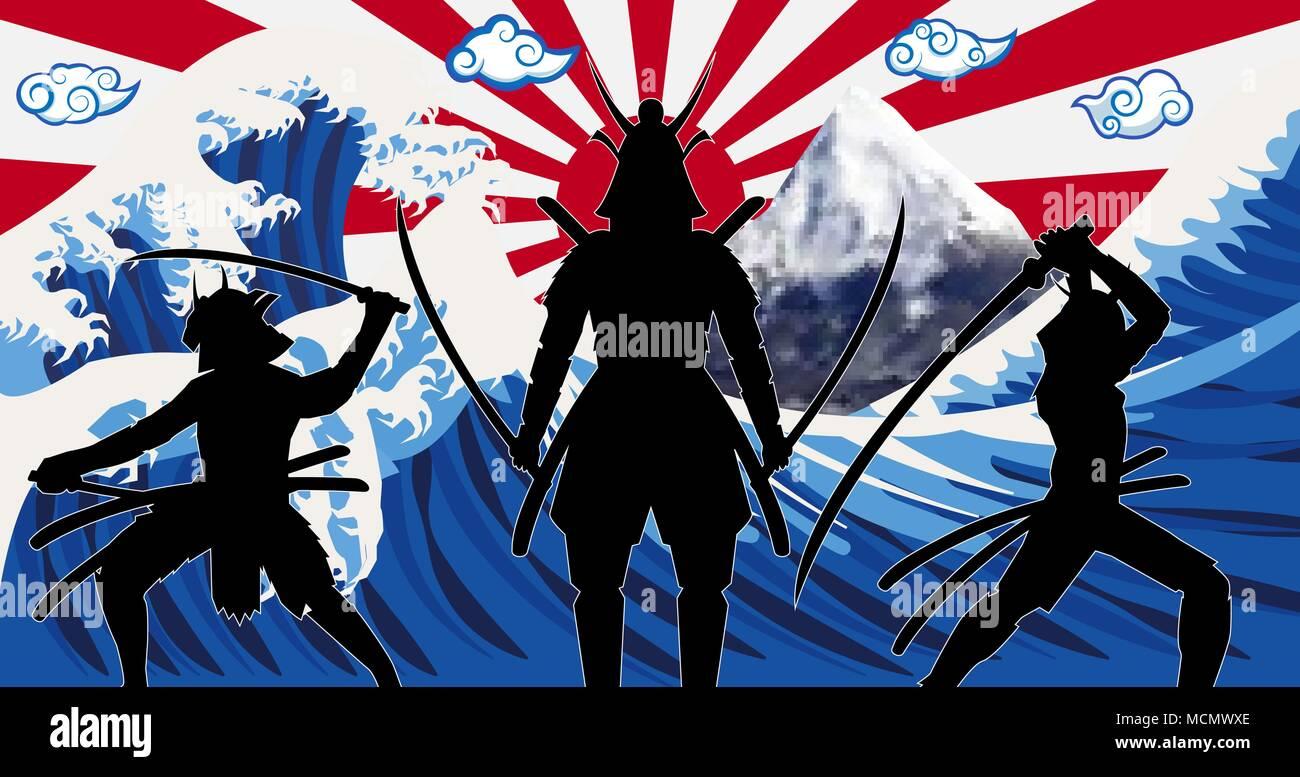 silhouette japan samurai with wave rising sun flag - Stock Image