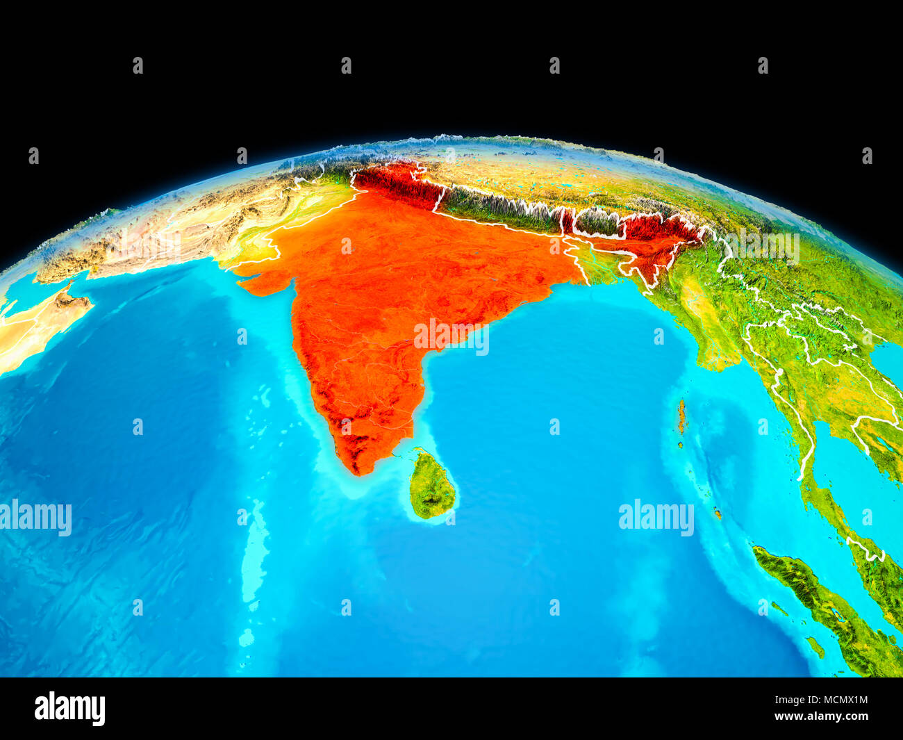 Satellite image india stock photos satellite image india stock satellite view of india highlighted in red on planet earth with borderlines 3d illustration gumiabroncs Choice Image