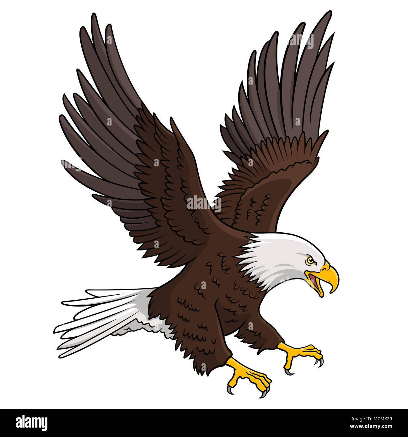Bald Eagle isolated on white. This vector illustration can be used as a print on T-shirts, tattoo element or other uses - Stock Image