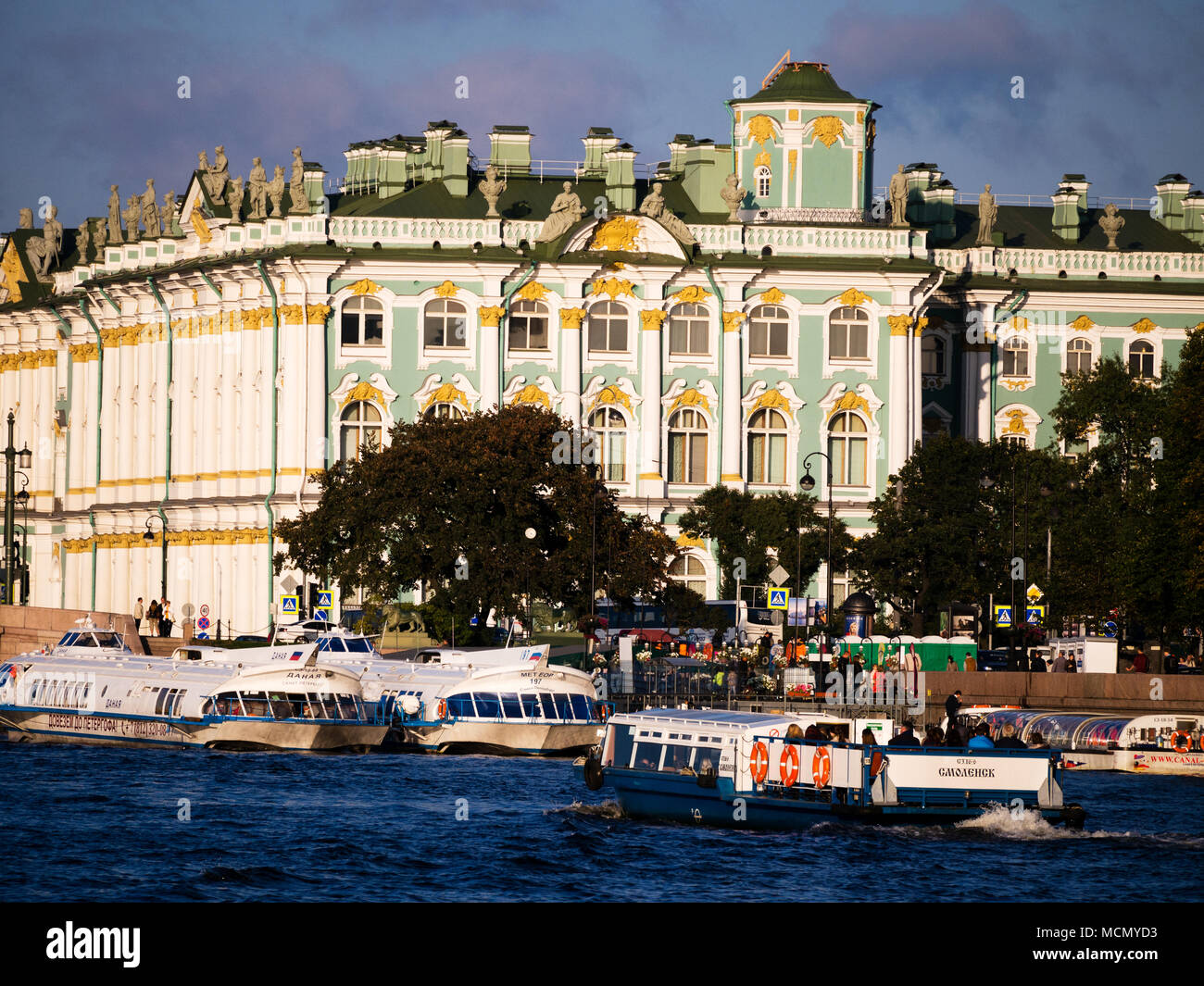 St. Petersburg, Russia: Winter Palace seen from the Neva River - Stock Image