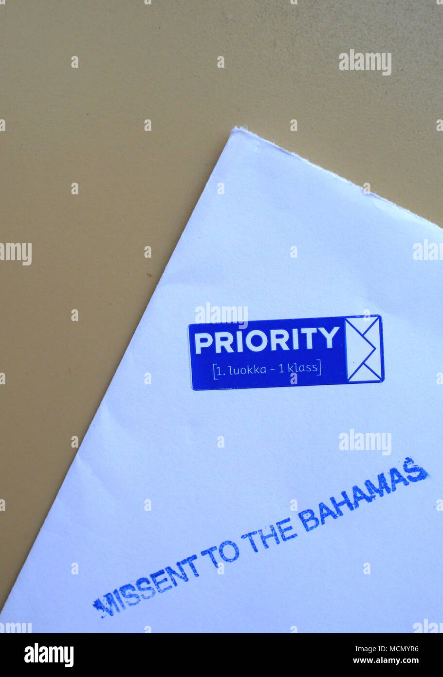 Priority letter missent or misshipped to the Bahamas - Stock Image