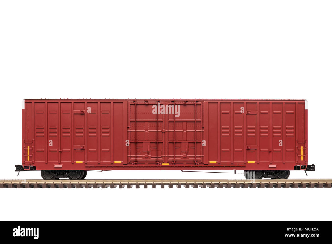 Railroad Box Car On Track - Stock Image