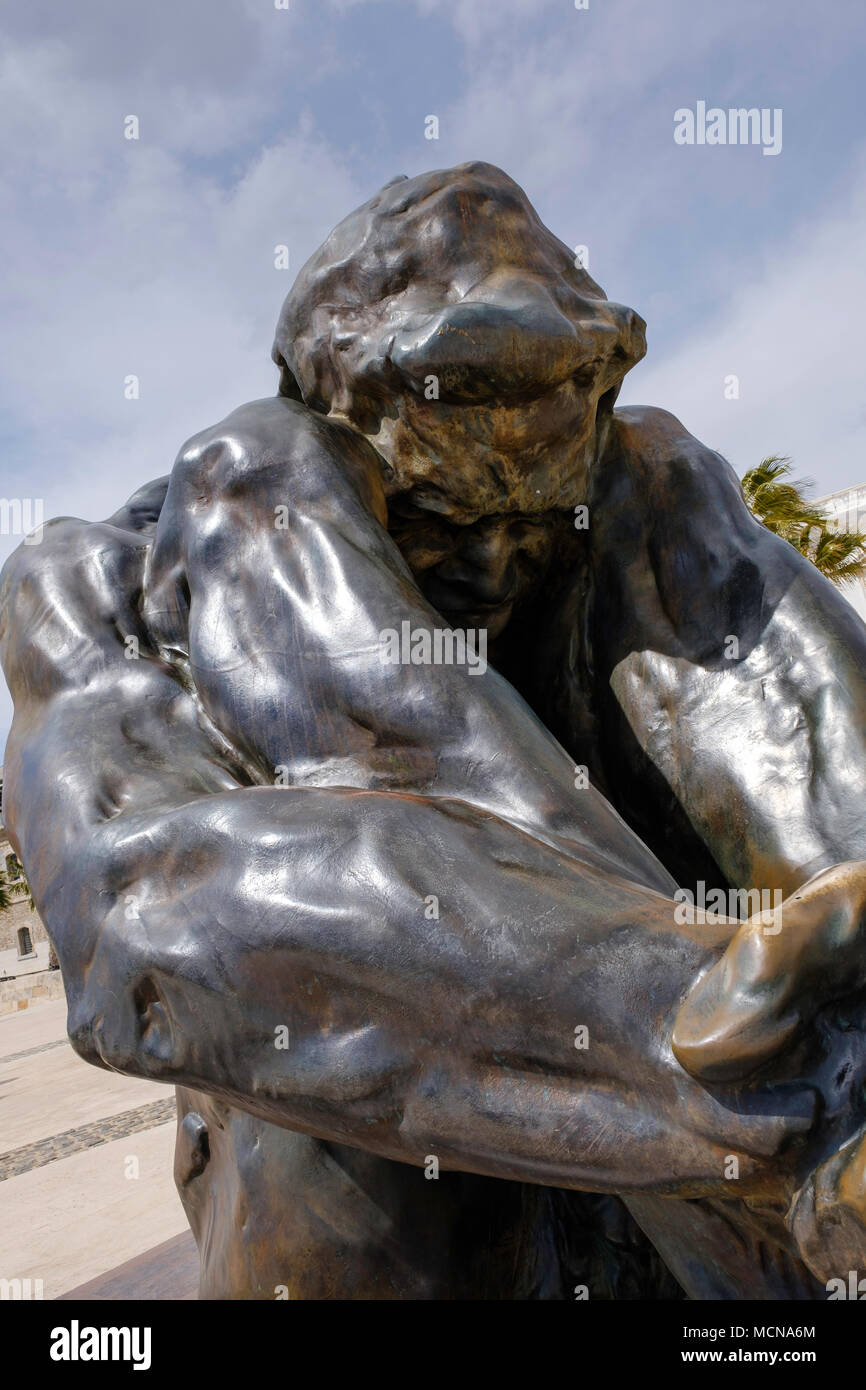 Large bronze statue titled 'To victims of Terrorism' in Cartagena, province of Murcia, Spain - Stock Image