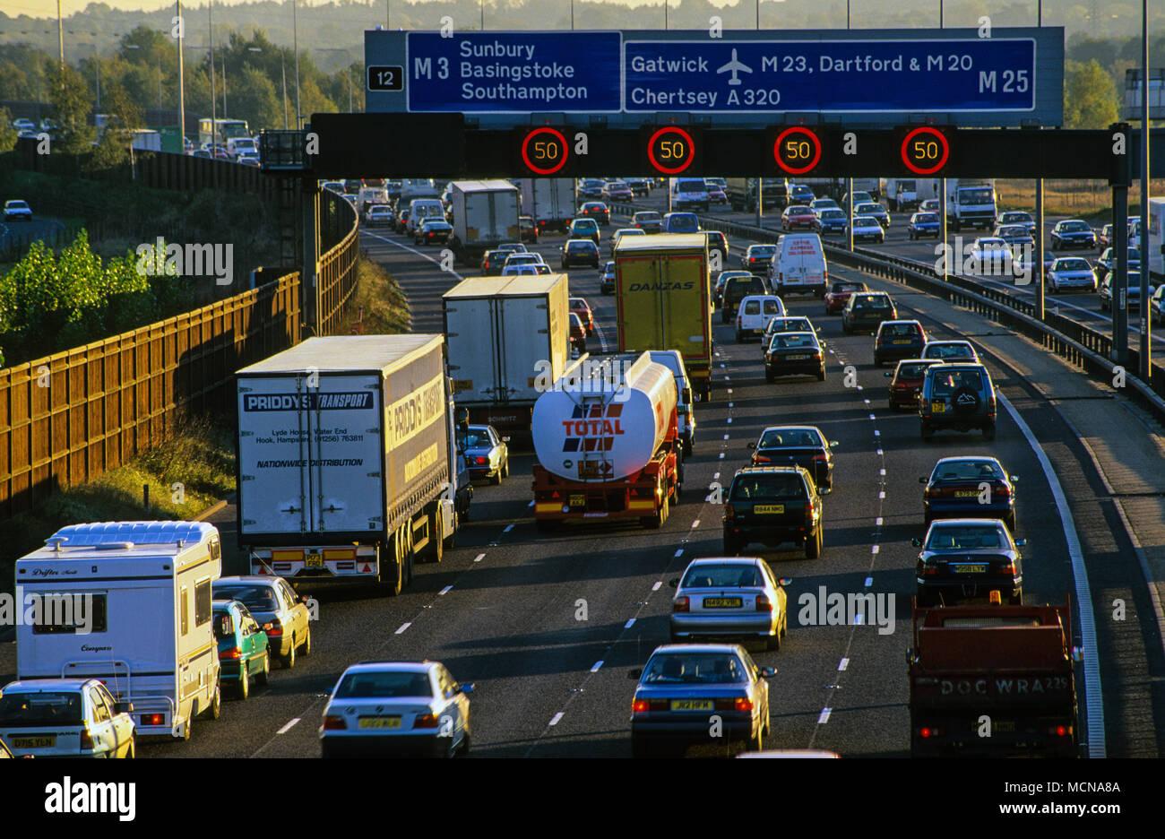 Traffic Jam M25 Motorway, Nr Junction 12, London, England, UK, GB. - Stock Image