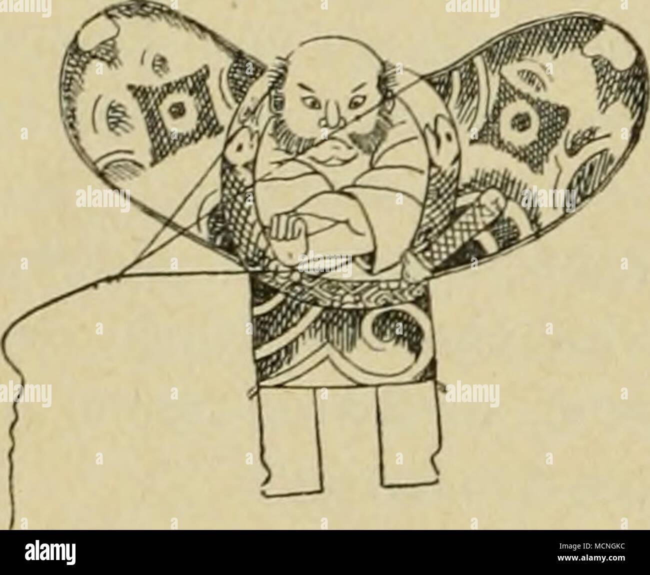 """. Kinder-Spielzeug """"omocha"""". Der Grund, warum kein Kinder-Spielzeug in der Sammlung vertreten, ist der, dass diese geringen, billigen Machenschaften meist aus neuem Bambus erstellt und infolgedessen dem Wurmfrass und überhaupt leichter Zerstörung unterworfen sind. Im Wesentlichen sind es folgende Gegenstände aus Bambus: Drachen mit Schwirrsaite """" tako to unari"""" (Fig. 20, Nr. 1412), Steckenpferd """"take-uma"""" (Fig. 21), Käferkäfige """" mushi-kagott, Schwir- bel """" tonbo"""", Masken """"men"""", Hampelmann """" kakubei-jishi"""", Schleuderrohr (Bohnenflinte) """" mame-teppo"""", Spritzen Stock Photo"""