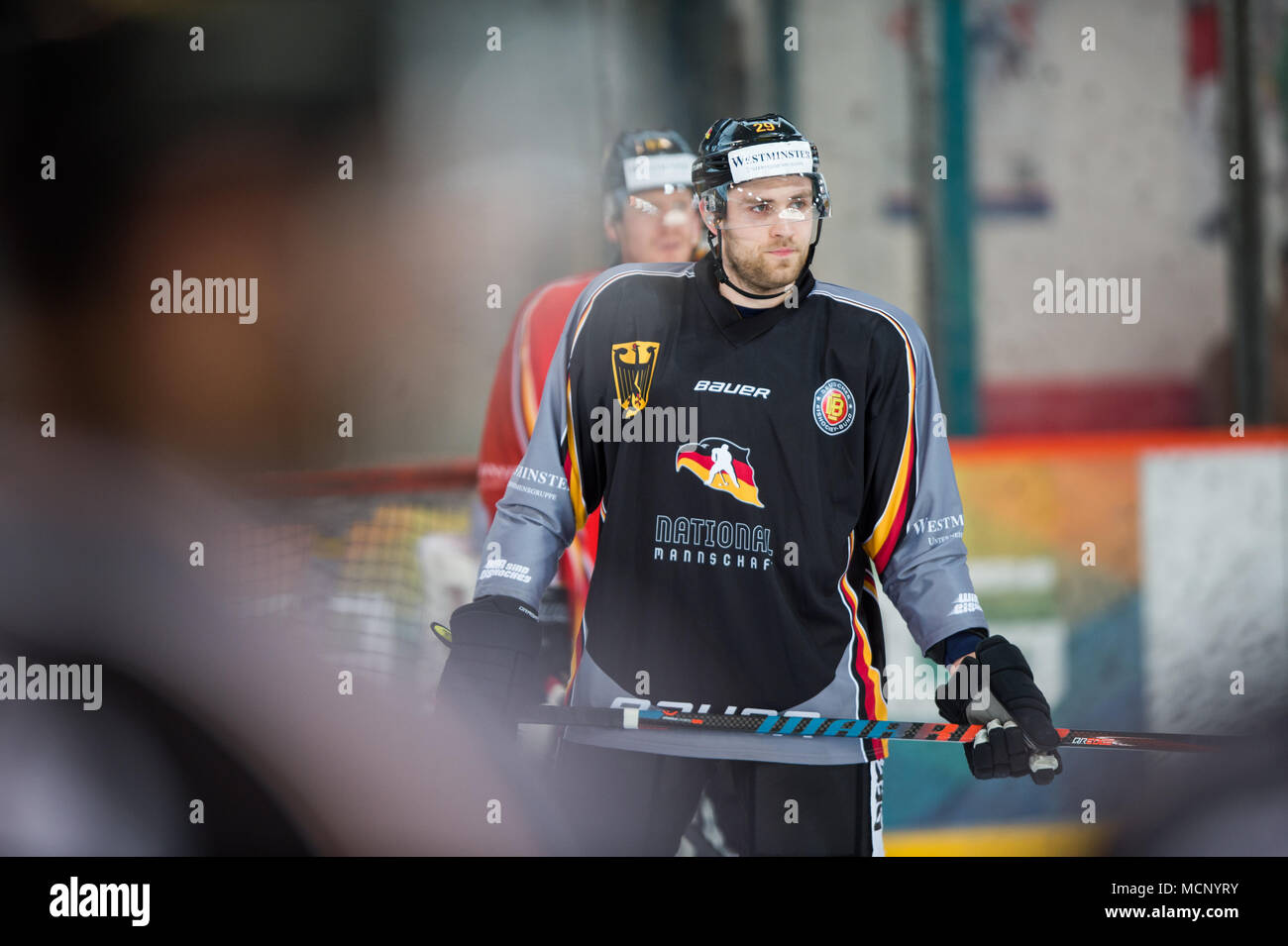 17 April 2018, Germany, Berlin: Leon Draisaitl (c) training with the Germany ice hockey team at the Wellblechpalast ice hockey arena. Germany face France on 21 April. Photo: Arne Bänsch/dpa - Stock Image