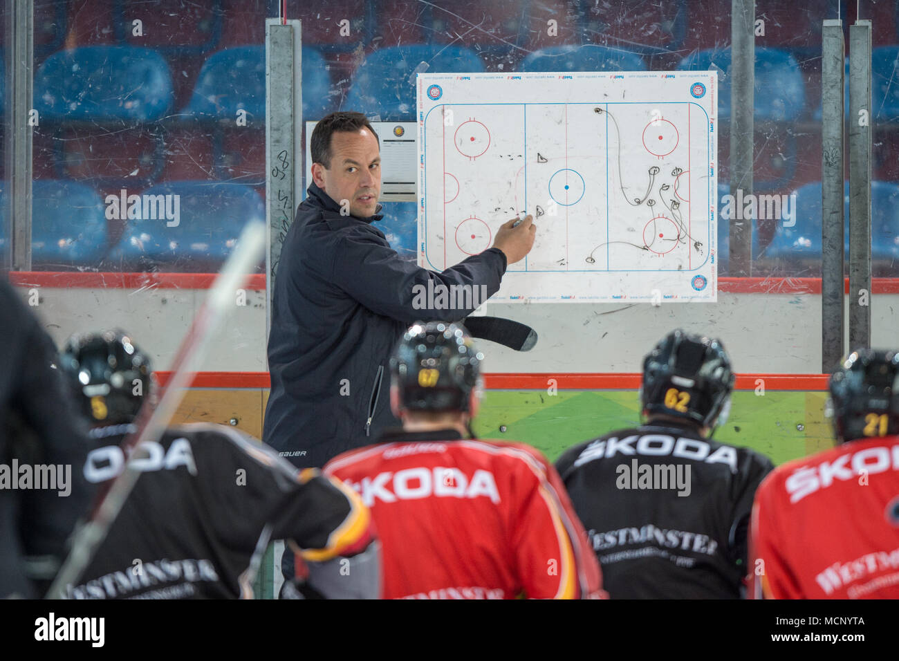 17 April 2018, Germany, Berlin: Coach Marco Sturm talks tactics with the Germany ice hockey team at the Wellblechpalast ice hockey arena. Germany face France on 21 April. Photo: Arne Bänsch/dpa - Stock Image