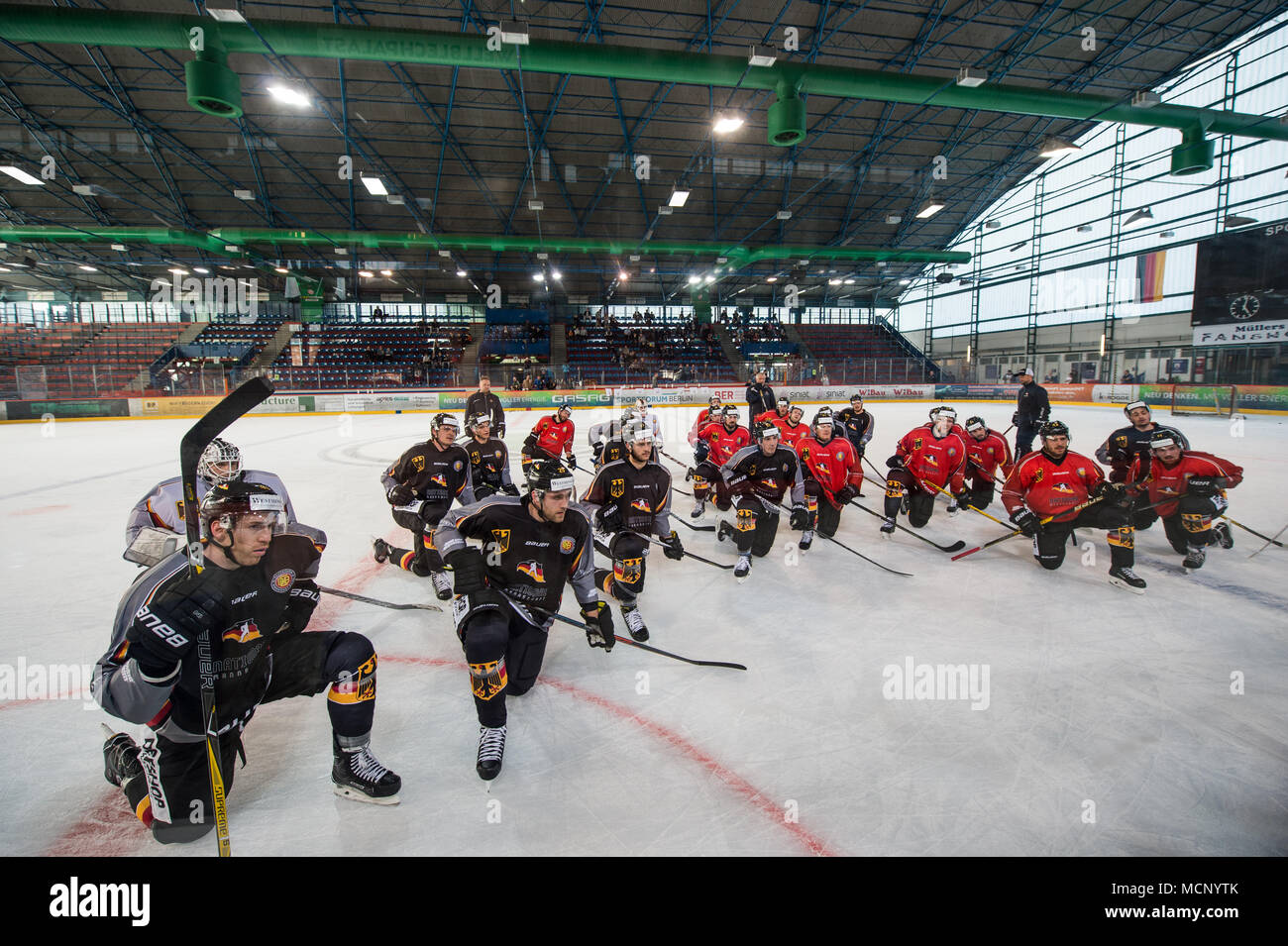 17 April 2018, Germany, Berlin: The Germany ice hockey team training at the Wellblechpalast ice hockey arena. Germany face France on 21 April. Photo: Arne Bänsch/dpa - Stock Image