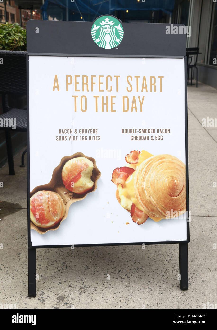 New York City, New York, USA. 17th Apr, 2018. A view of a Starbucks ...