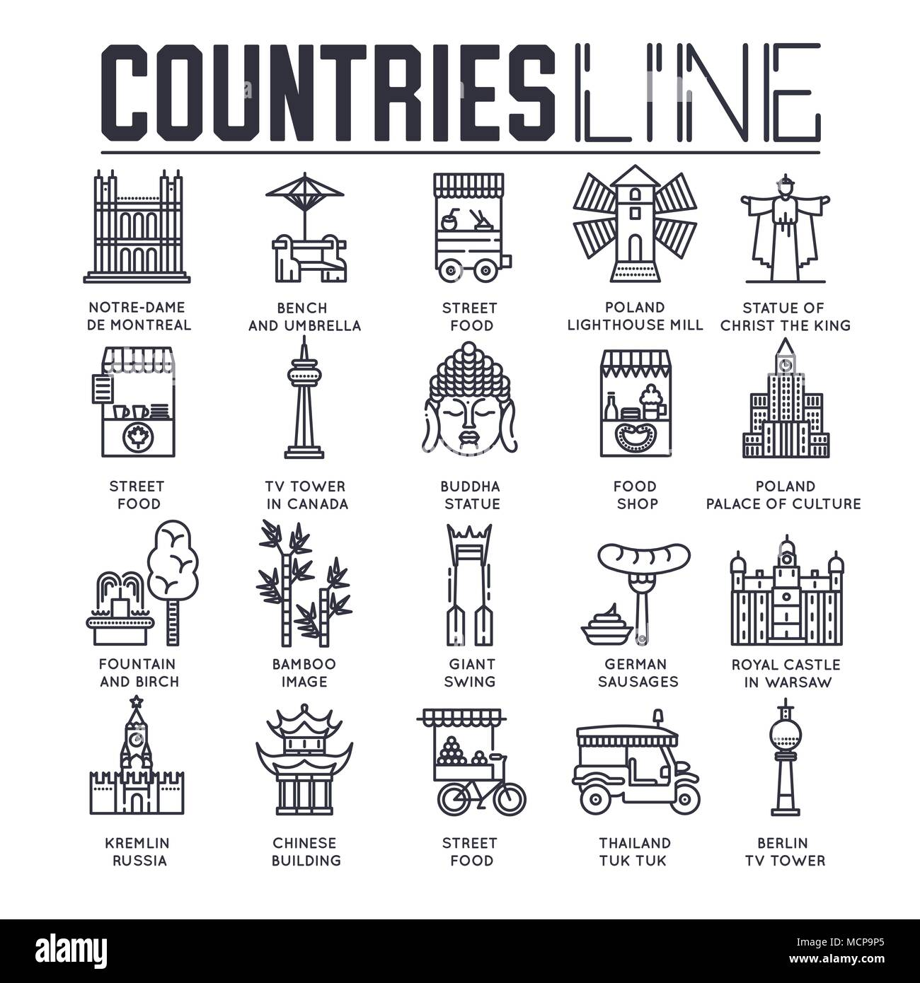 Country travel collextion set. Set of architecture, fashion, people, item, nature background concept. Infographic traditional ethnic flat, outline, thin line icon  Stock Vector