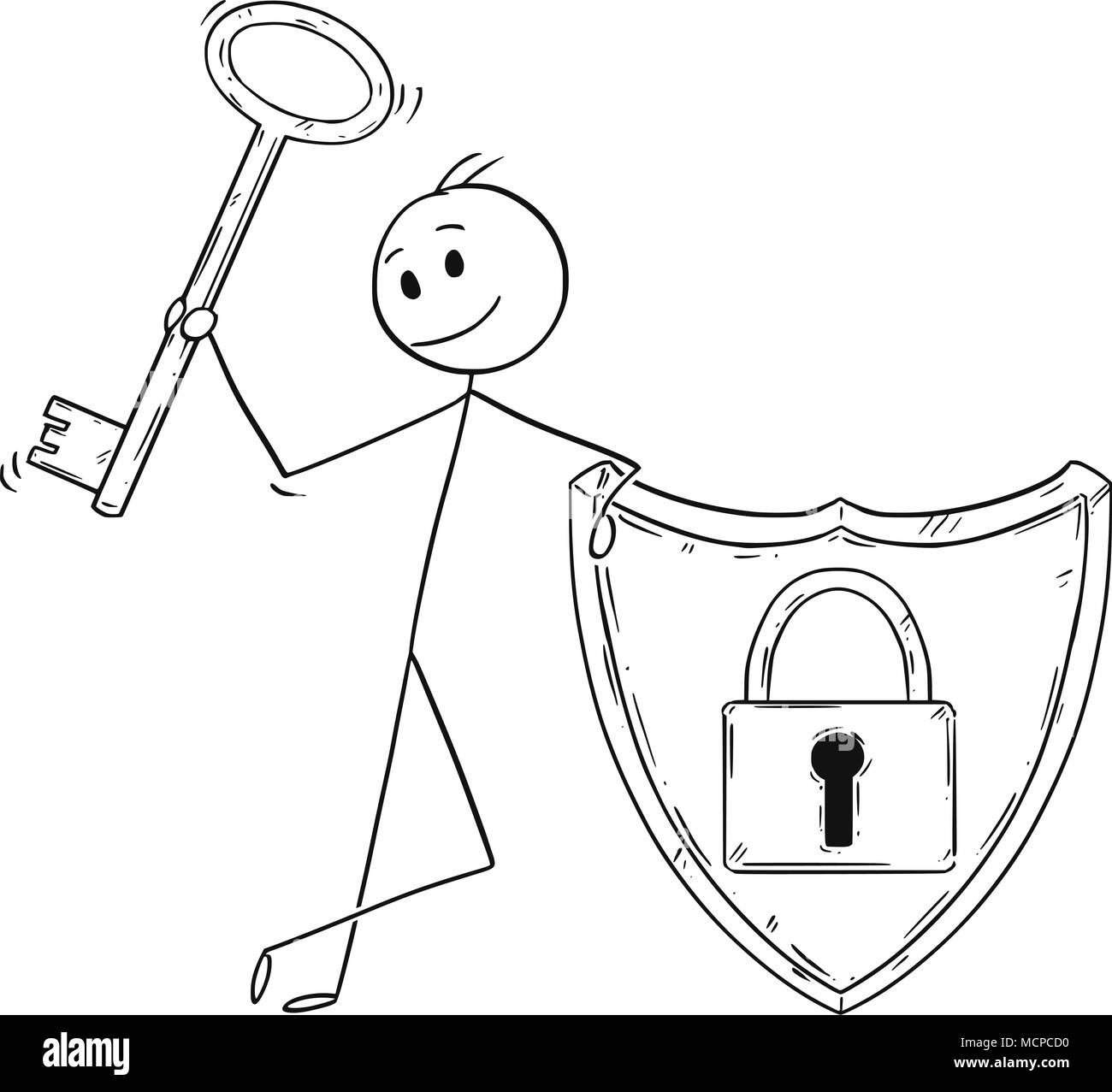 Cartoon of Man or Businessman With Locked Shield and Holding a Key as Password and Internet Security Metaphor Stock Vector