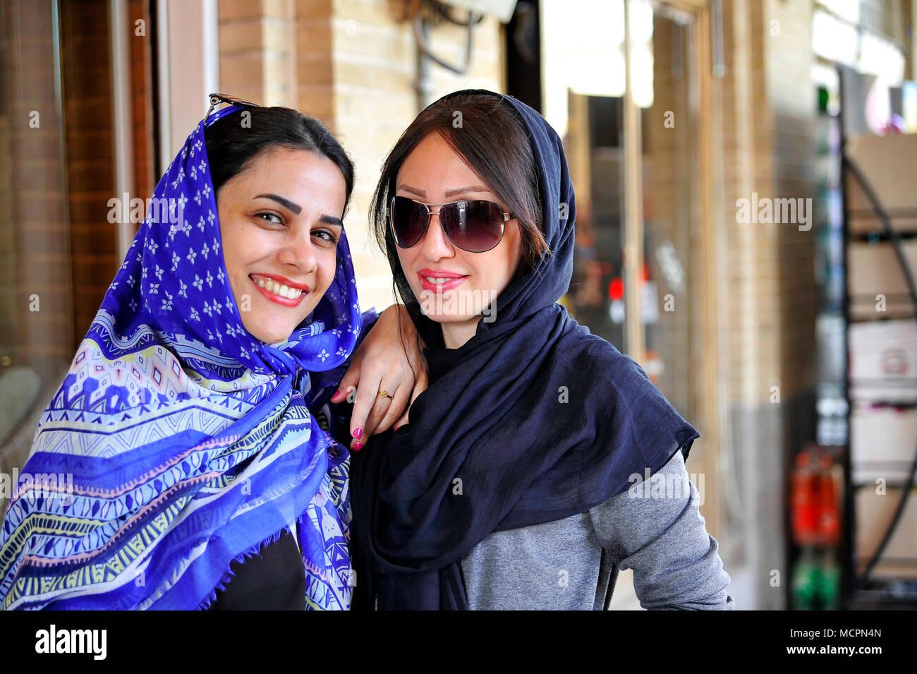 Portrait of girls in Esfahan, Iran - Stock Image