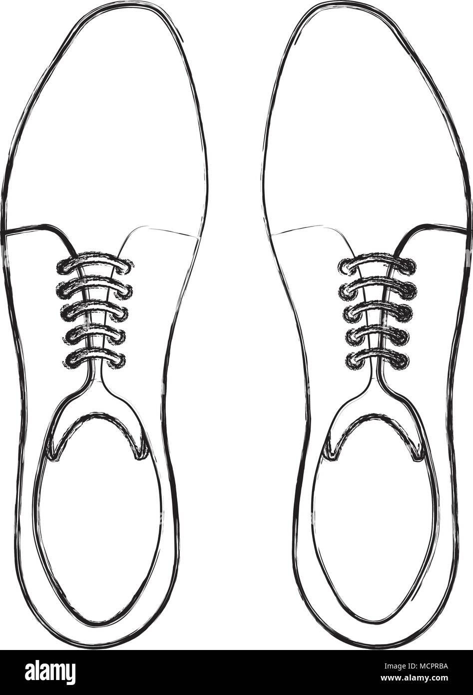 elegant shoes masculine icon - Stock Image
