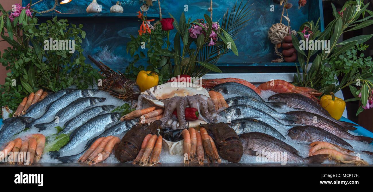 Ein Marktstand mit fangfrischem Octopus, Scampis, Langusten und Fisch appetitlich auf gestossenem Eis angerichtet - Stock Image