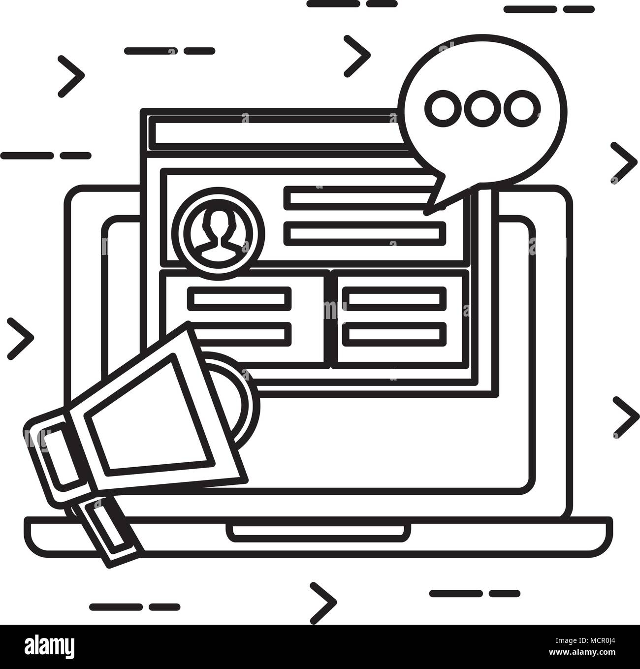 laptop computer with social marketing icons - Stock Image