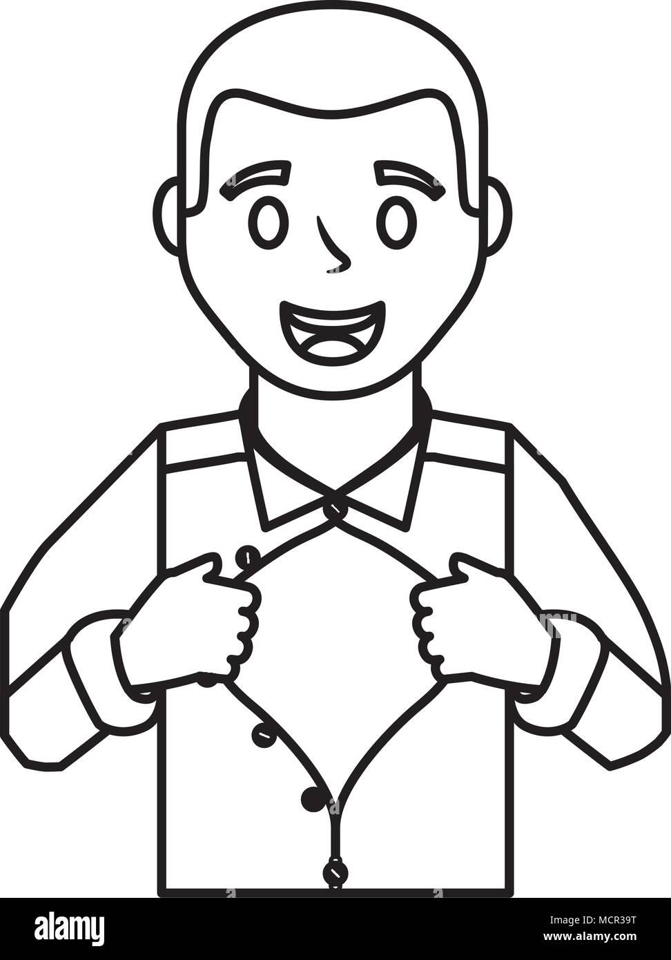 father hero open shirt - Stock Vector