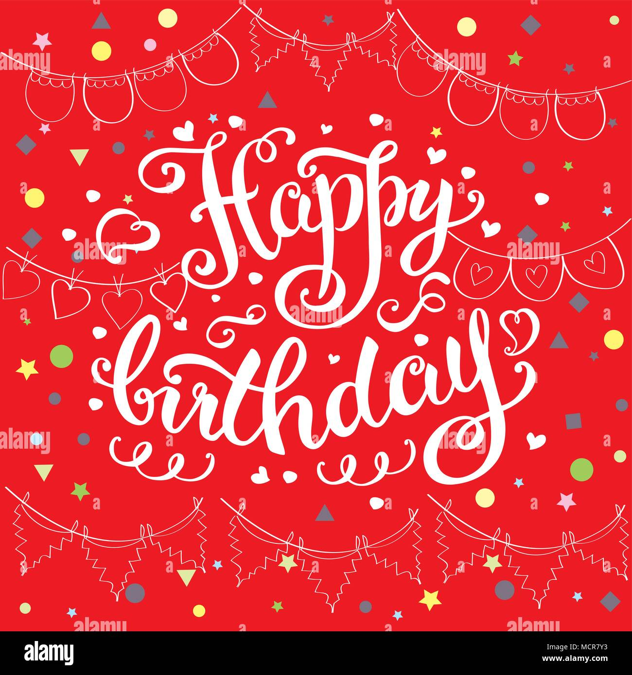 Happy birthday card, hand drawn ettering on red background,stock