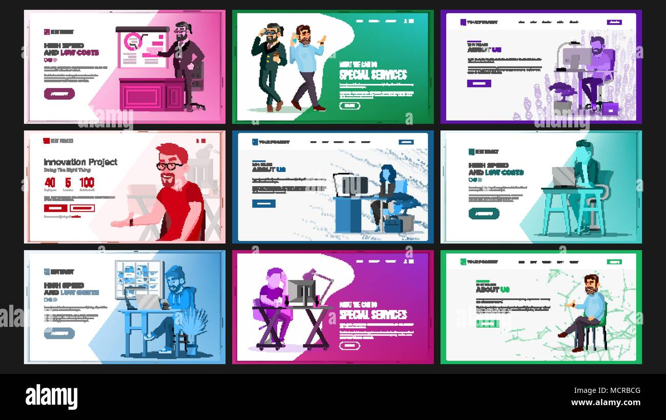 Website Design Template Set Vector Business Landing It Technology