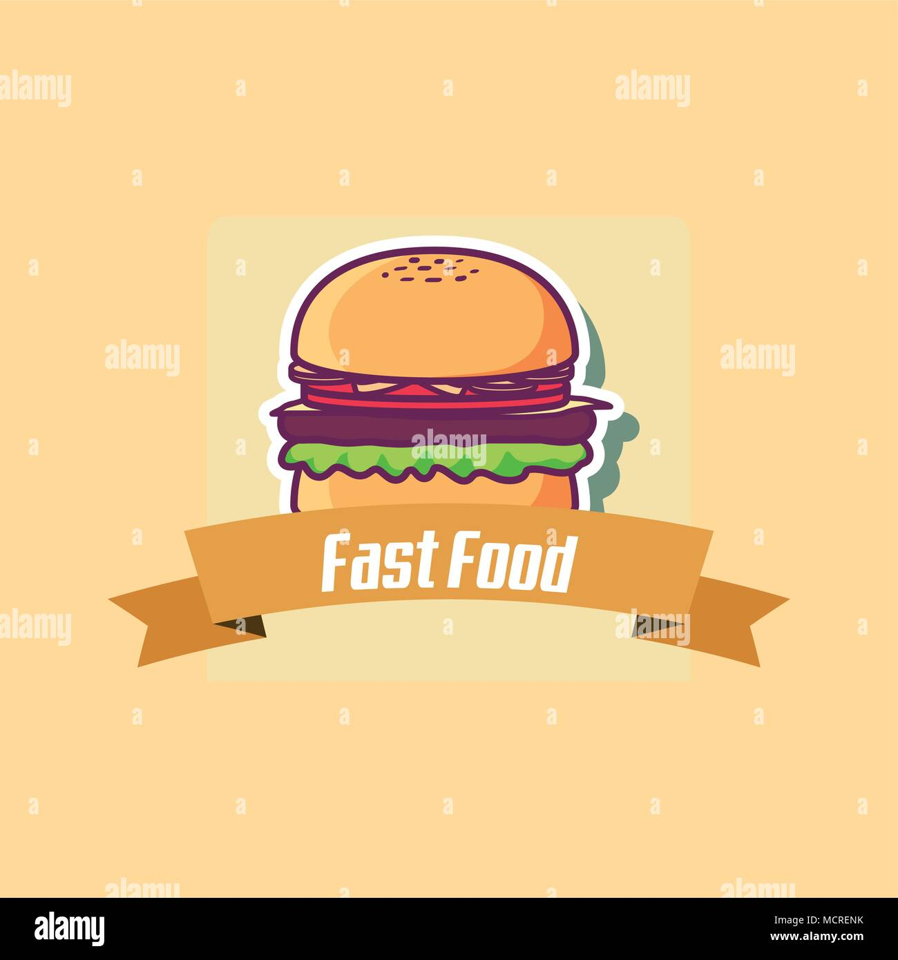 Emblem of fast food concept with hamburger icon and decorative ribbon over orange background, colorful design. vector illustration - Stock Vector