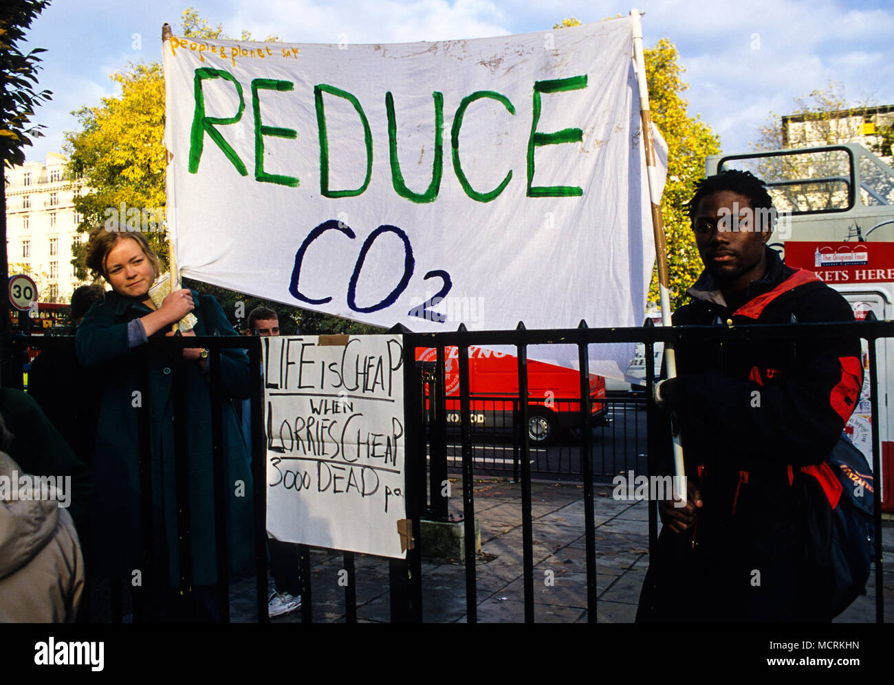 Air Pollution Demo, People and Planet, Westminster, London, England, UK, GB. - Stock Image