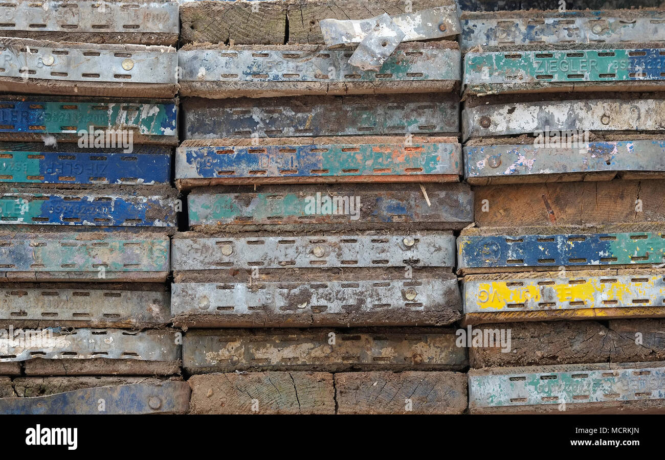 ends of scaffolding boards - Stock Image