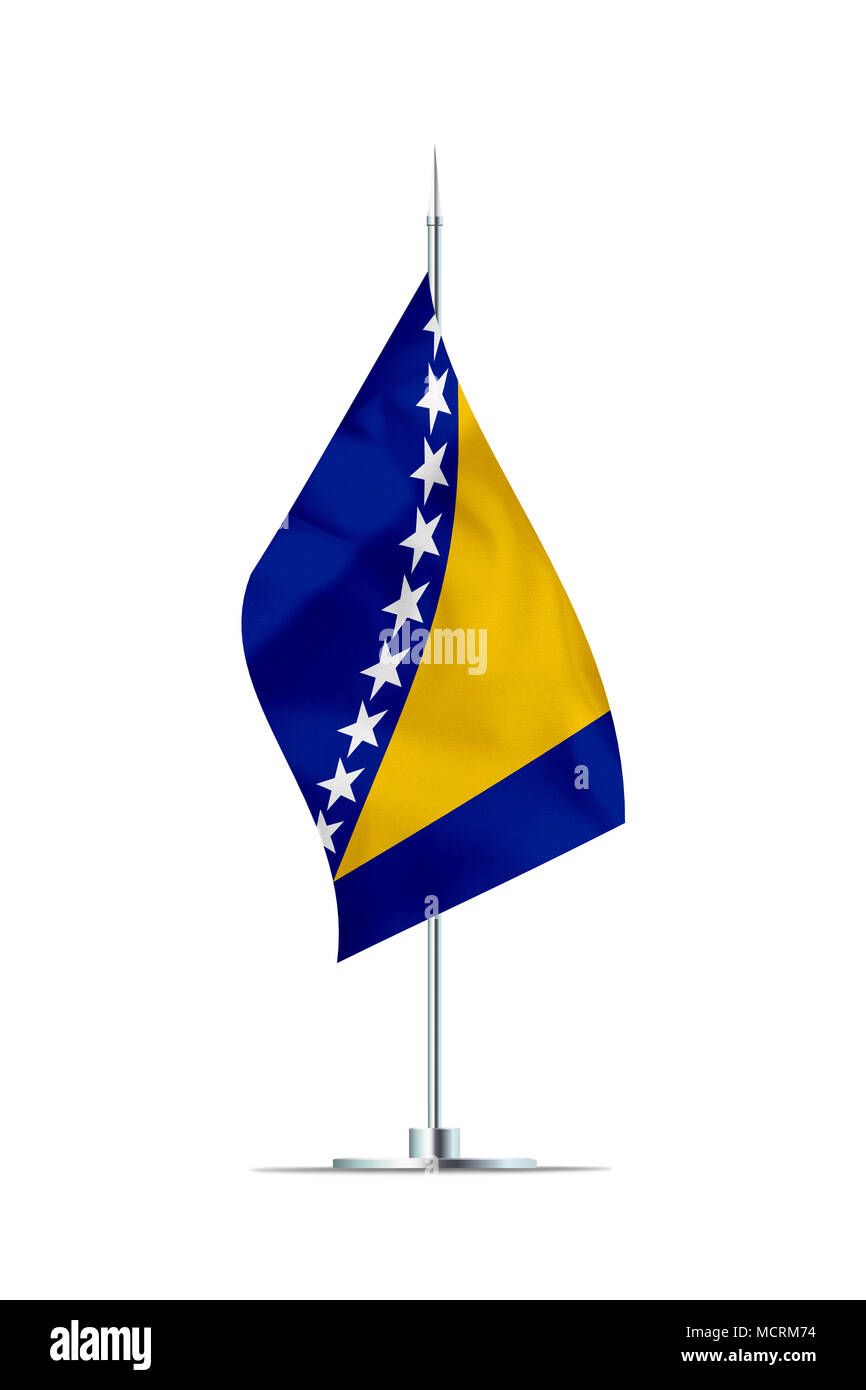 Small Bosnia and Herzegovina flag  on a metal pole. The flag has nicely detailed textile texture. Isolated on white background. 3D rendering. - Stock Image