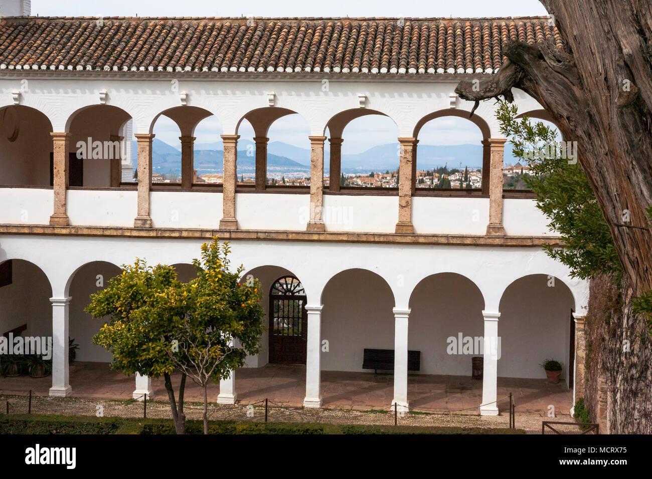 the arcade of the pabelln norte north pavilion in front of the patio de - Jardin De L Alhambra