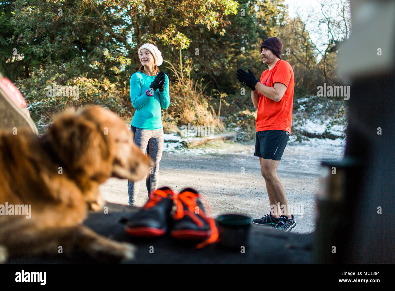Dog sitting in car trunk and man and woman talking - Stock Image