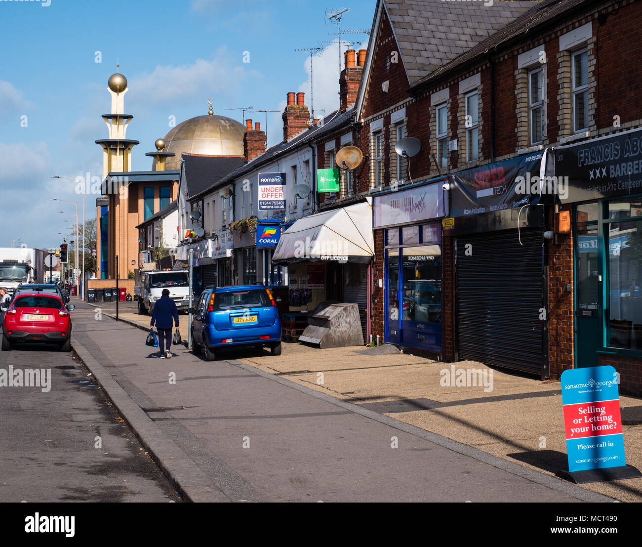 Mosk, and betting shop,  Tilehurst, Reading, Berkshire, Reading, UK, GB. - Stock Image