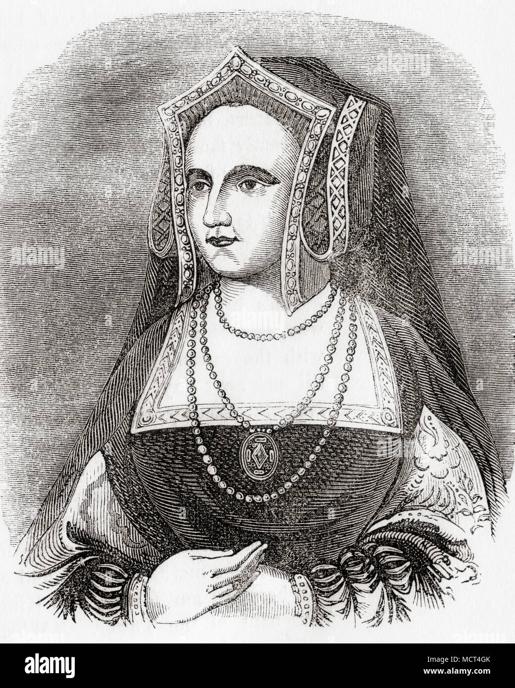 Catherine Parr, also spelled Katherine, Katheryn or Katharine, 1512 - 1548.  Queen of England and of Ireland (1543–47) as the last of the six wives of King Henry VIII.  From Old England: A Pictorial Museum, published 1847. - Stock Image