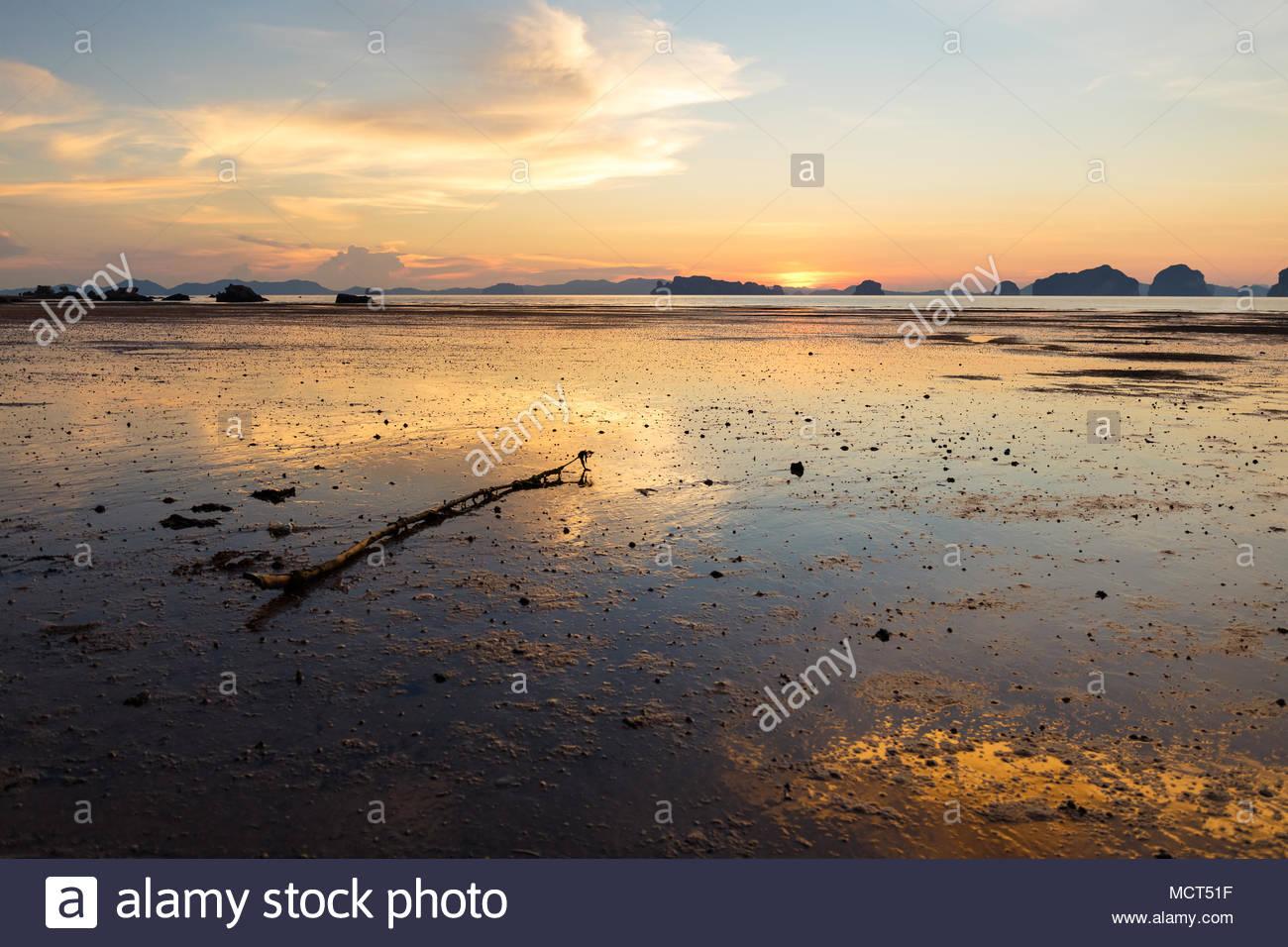 Sunset at Mueang Beach in Krabi Thailand - Stock Image