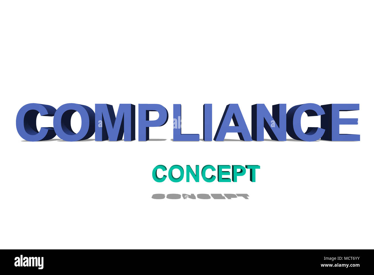 Compliance as 3D text on a white page for background - Stock Image