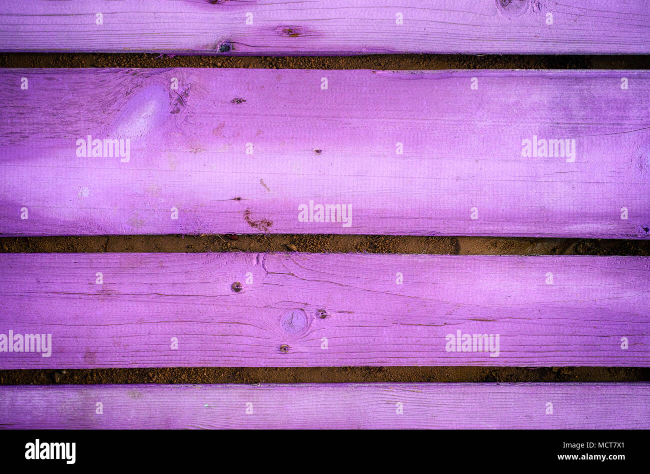 Background of purple wooden planks. Close-up. - Stock Image