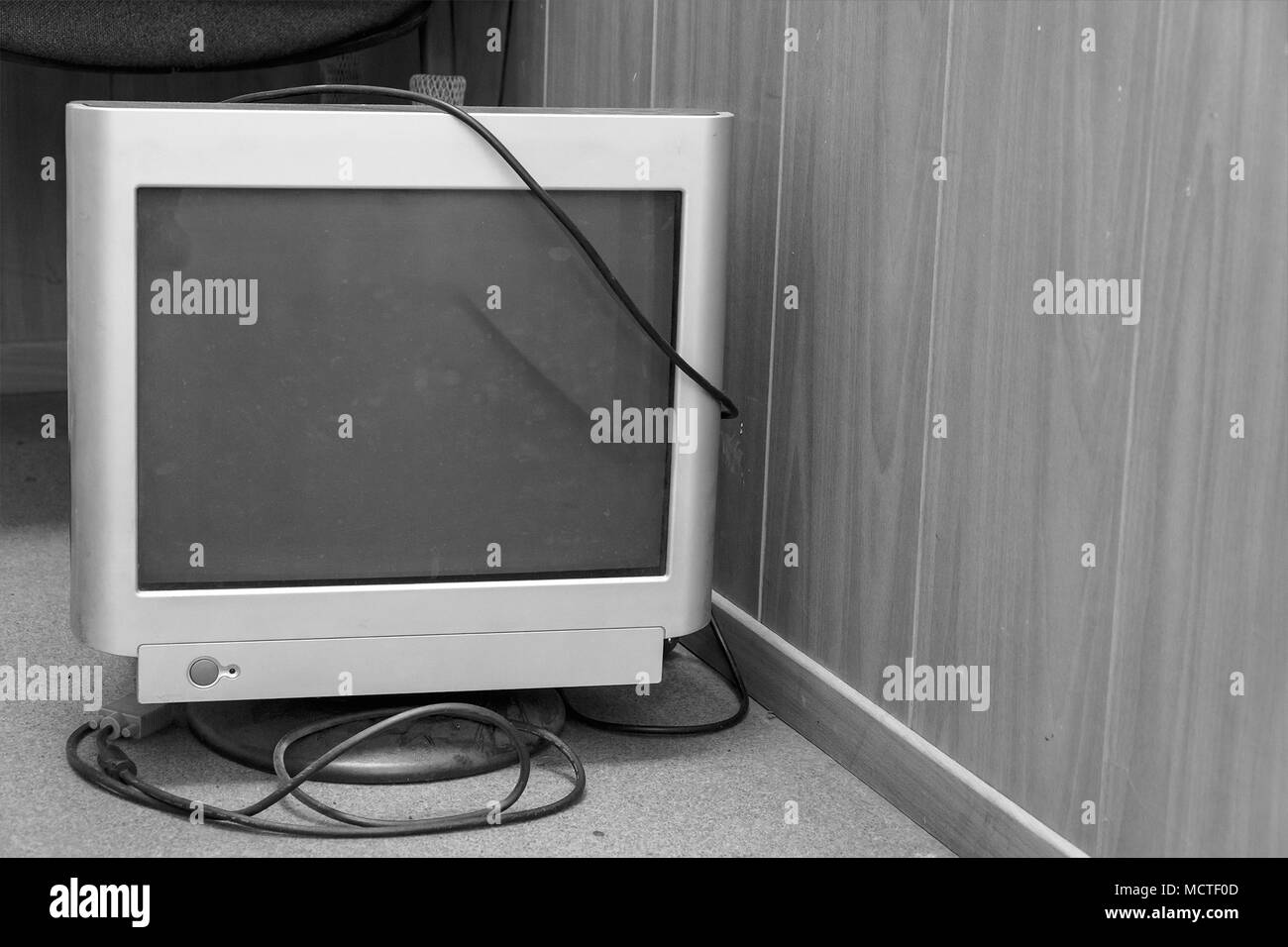 Obsolete old computer monitor - Stock Image