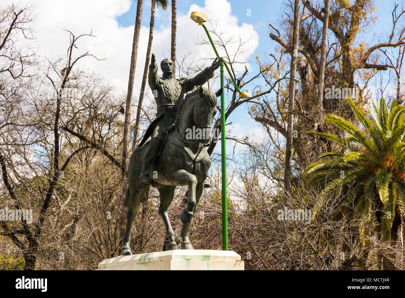 Seville, Spain. Statue of Simon Bolivar, El Libertador, a Venezuelan political leader who lead to the independence of Venezuela, Bolivia, Colombia,etc - Stock Image