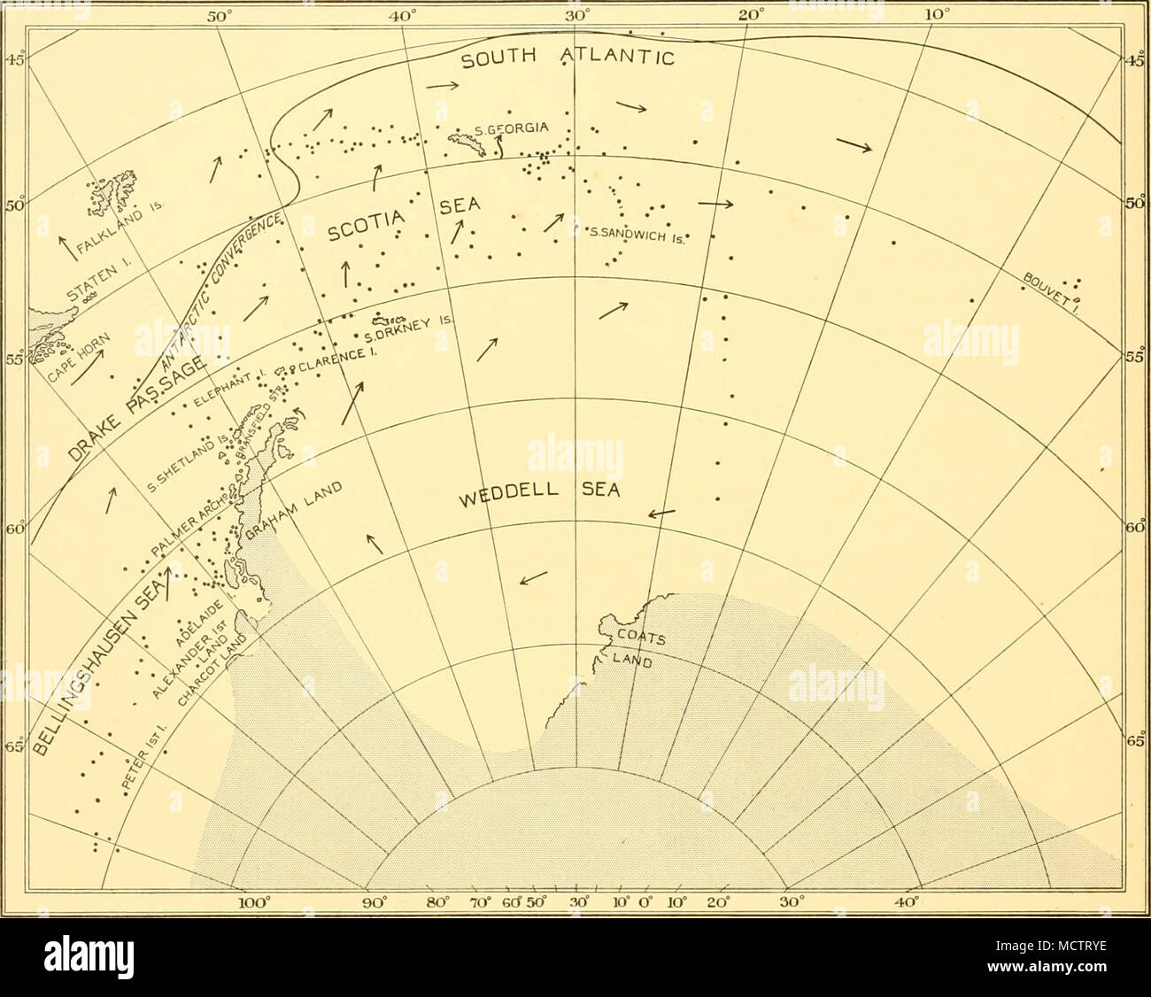 . Fig. 1. The Atlantic sector of the Antarctic, showing stations at which N 100 B samples were taken. Stations included in intensive work around South Georgia and in the Bransfield Strait, and a line of close stations off Adelaide Island, are omitted. Surface currents are indicated by arrows. indebted to him and to Mr A. J. Clowes for much valuable information. There are four primary divisions of the oceans of the southern hemisphere: the Antarctic, sub- Antarctic, sub-Tropical and Tropical Zones. The Antarctic Zone is characterized by a cold, poorly saline surface layer of an average depth of Stock Photo