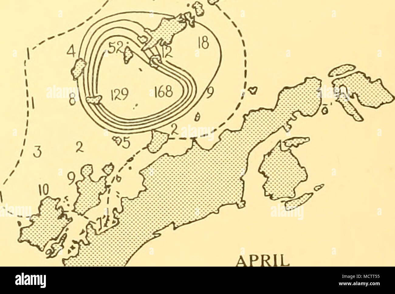 . APRIL 444 SCALE OF NAUTICAL MILES. lOO 200 Distribution of Fin whales taken on the South Shetland grounds in season 1928-9 300 - Stock Image