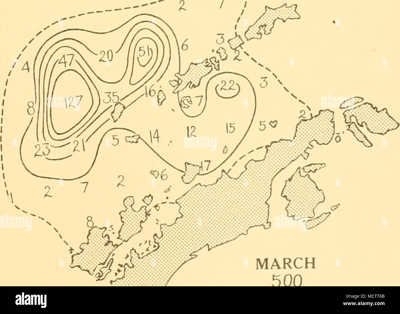 . MARCH 500 SCALE OF NAUTICAL MILES. 100 200 30O Distribution of Fin whales taken on the South Shetland grounds in season 1925-6 - Stock Image