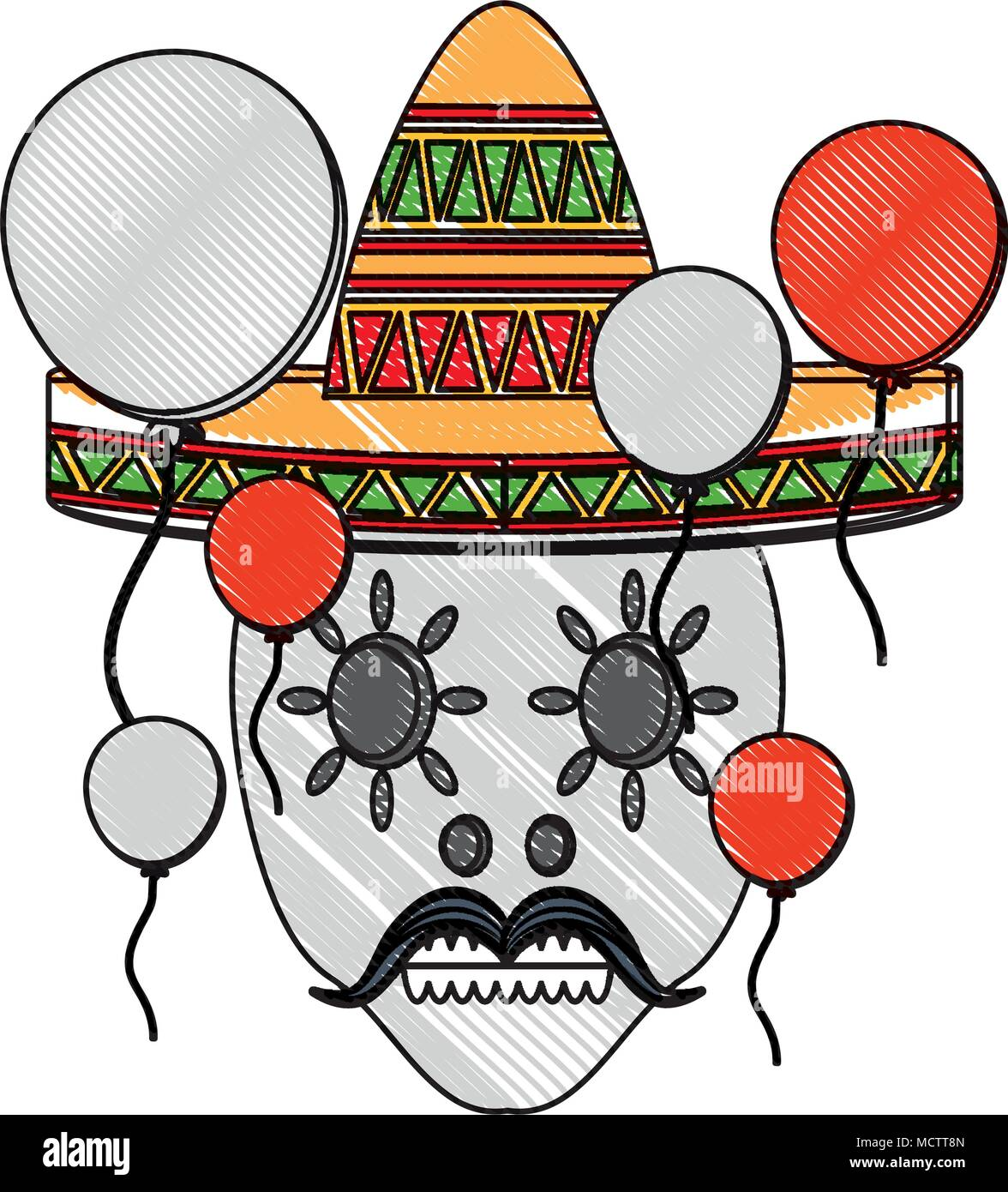sugar skull with mexican hat and decorative balloons around over white background, colorful design. vector illustration - Stock Image