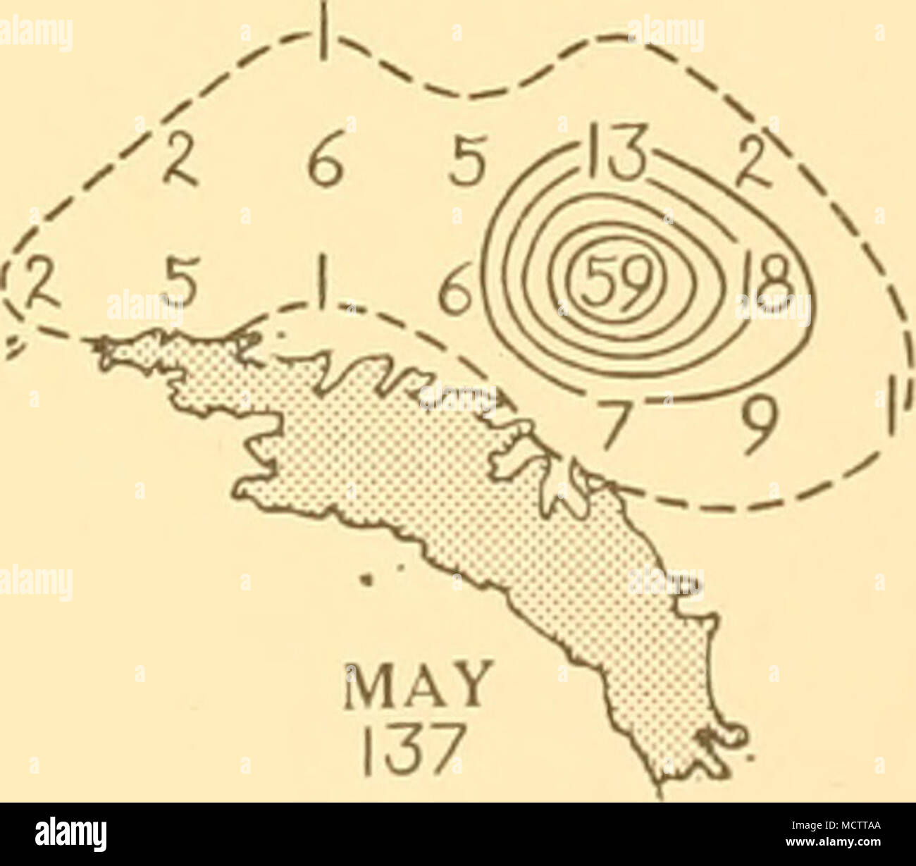 . SCALE OF NAUTICAL MILES. 0 100 150 200 Distribution of Blue whales taken on the South Georgia grounds in season 1924-5 - Stock Image