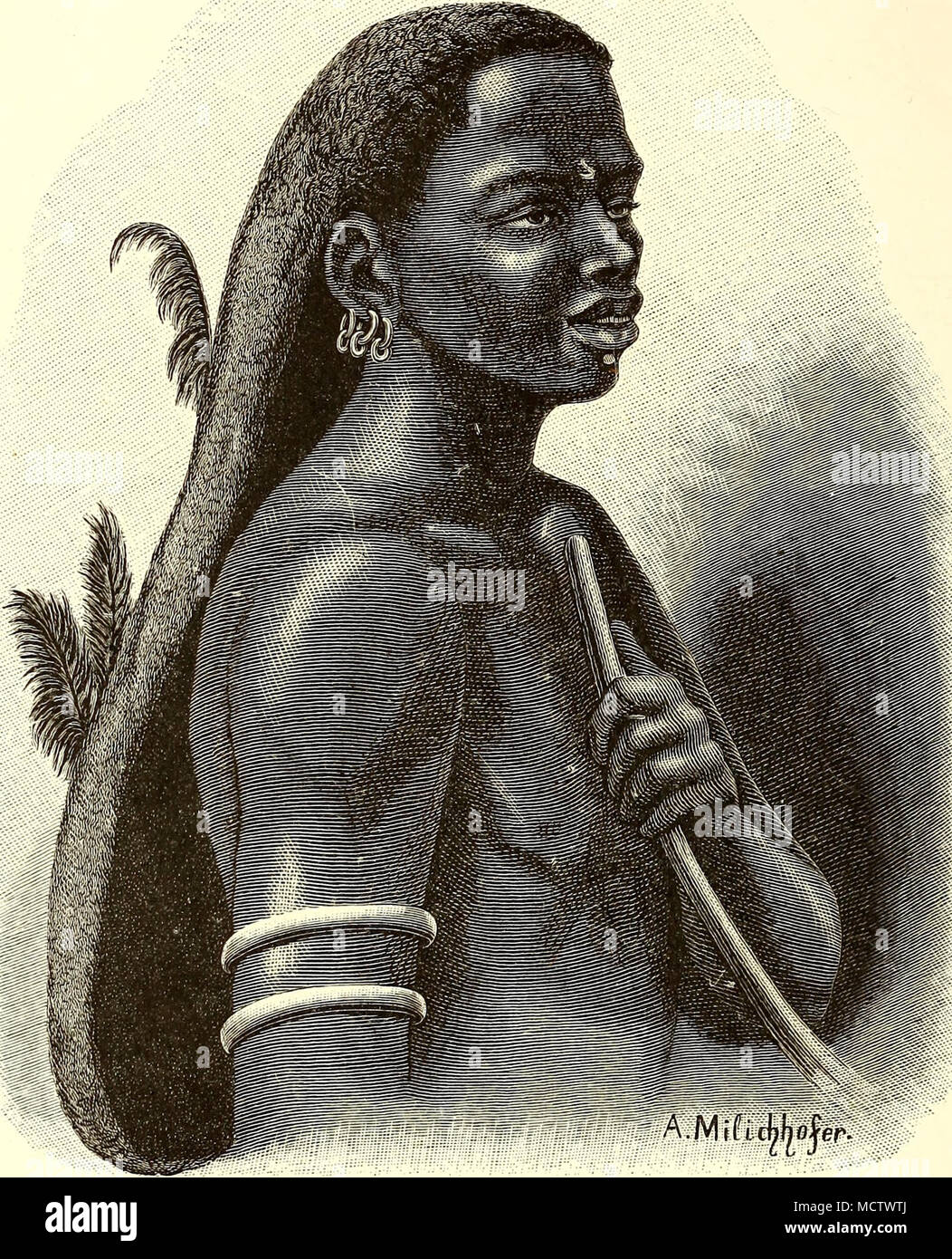 . MIDDLE-AGED TURKANA MAN. feathers painted red. Middle-aged men dress their hair in a very original manner, forming it by persistent Huffing out and entangling, with the aid of a long wooden needle, into a kind of bag from one-half to three-quarters of a yard long, but not more than from two to four inches broad. This hair-bag is adorned with several ostrich feathers and a long piece of wire - Stock Image