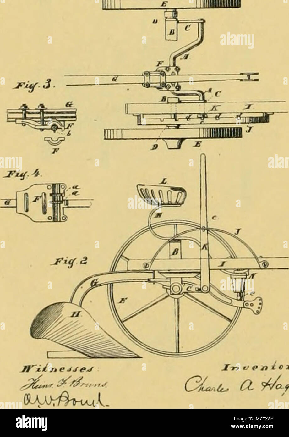 . CL..(^ a. â M^fc<^y. J. L. LADOHLIN Wheel Plow No. 241 140 Patented lune 21. 1881. - Stock Image