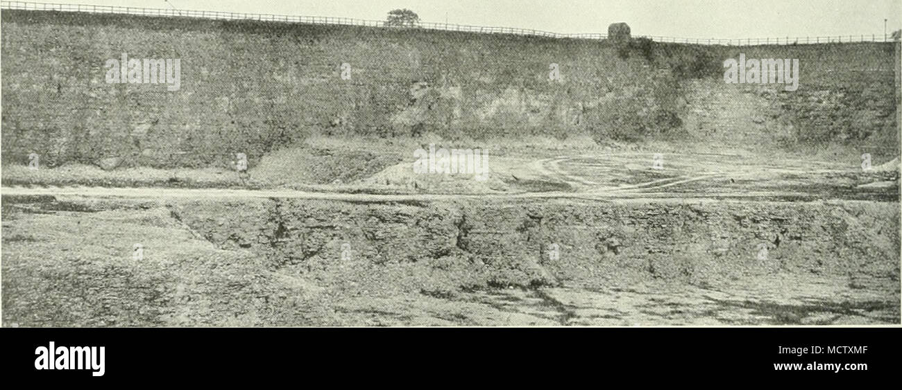 . Fig. 3.âGENERAI< view OF THE CHALK WITH FLINT 'â UPPER CHALK â¢' QUARRY AT ULCEBY, USED FOR THE CONSTRUCTION OF IMMINGHAM DOCK. Stock Photo
