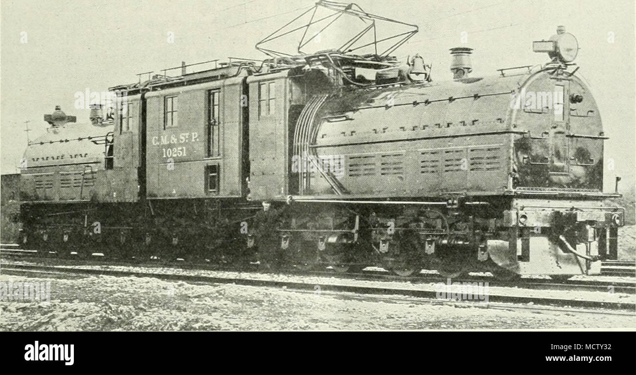 A LARGE ELECTRIC PASSENGER LOCOMOTIVE USED ON THE CHICAGO