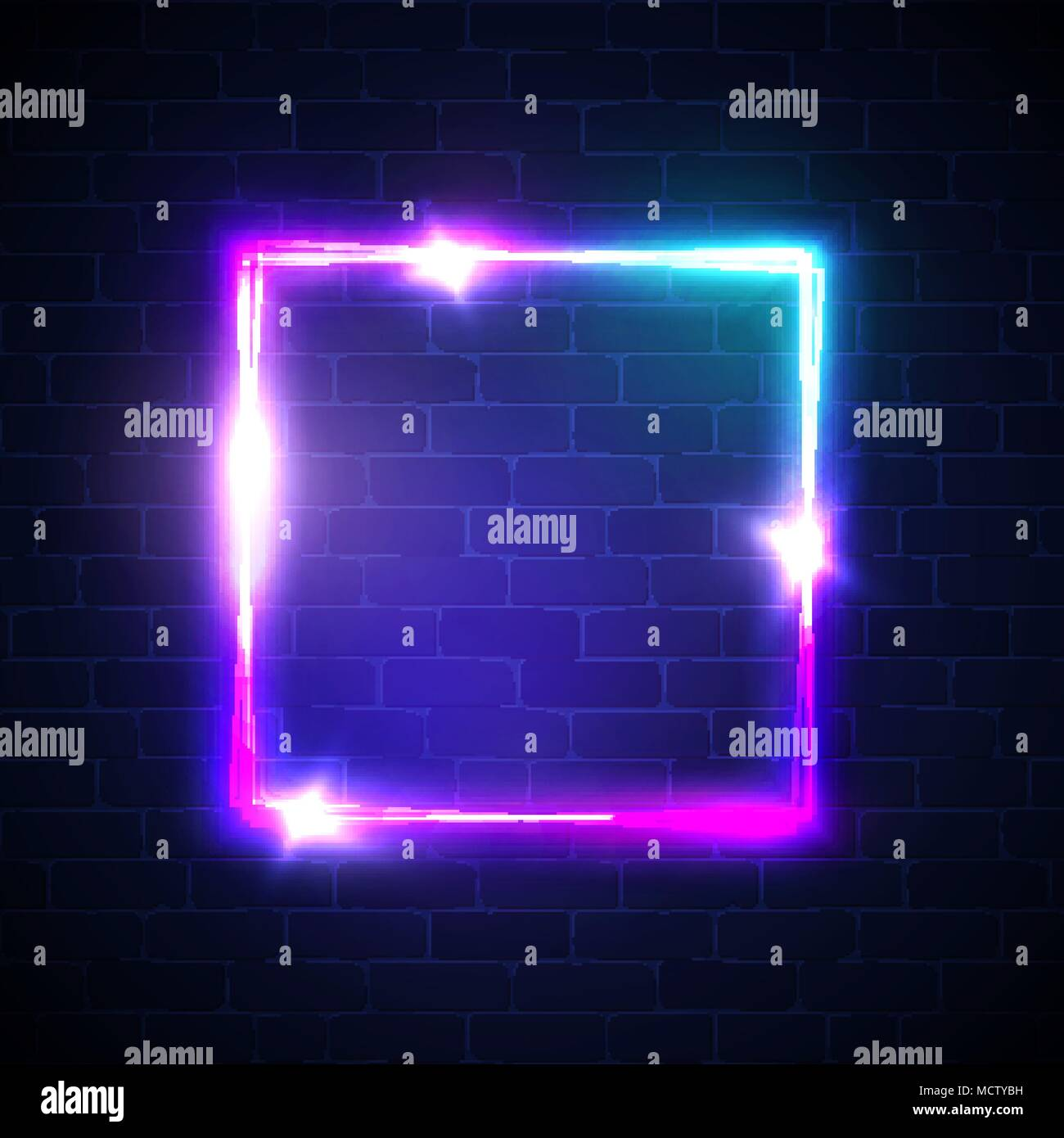neon background square frame with glowing and light electric