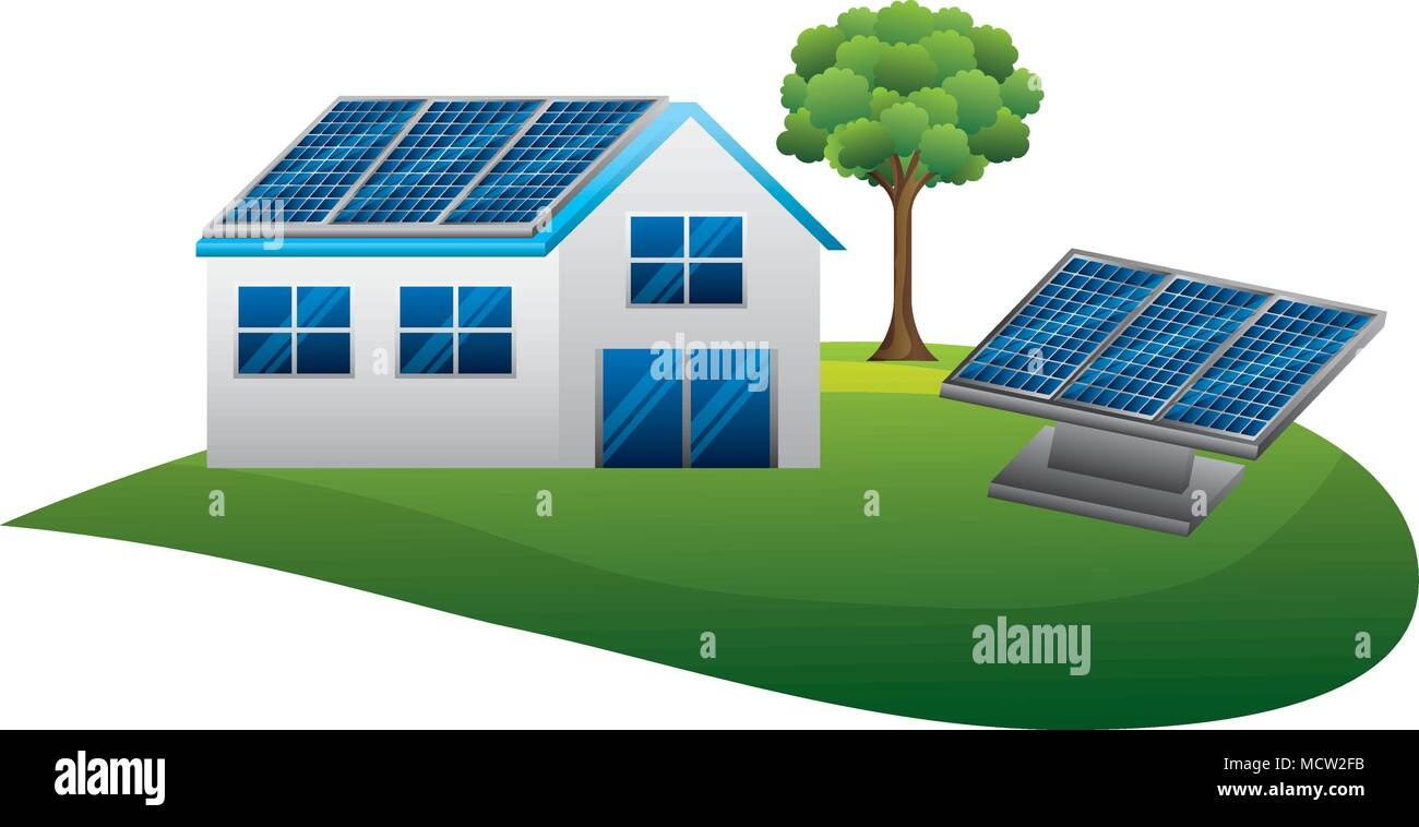 house with panels solar over landscape ecology energy - Stock Vector