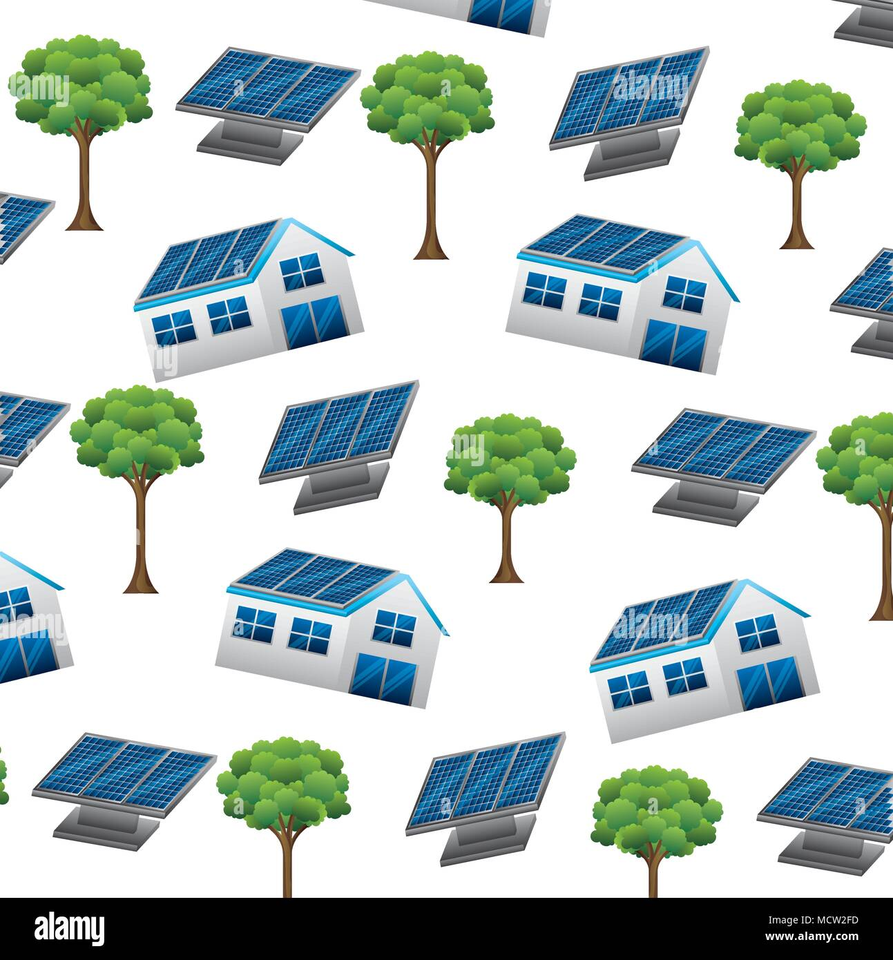 panels solar with house and tree ecology energy pattern - Stock Vector