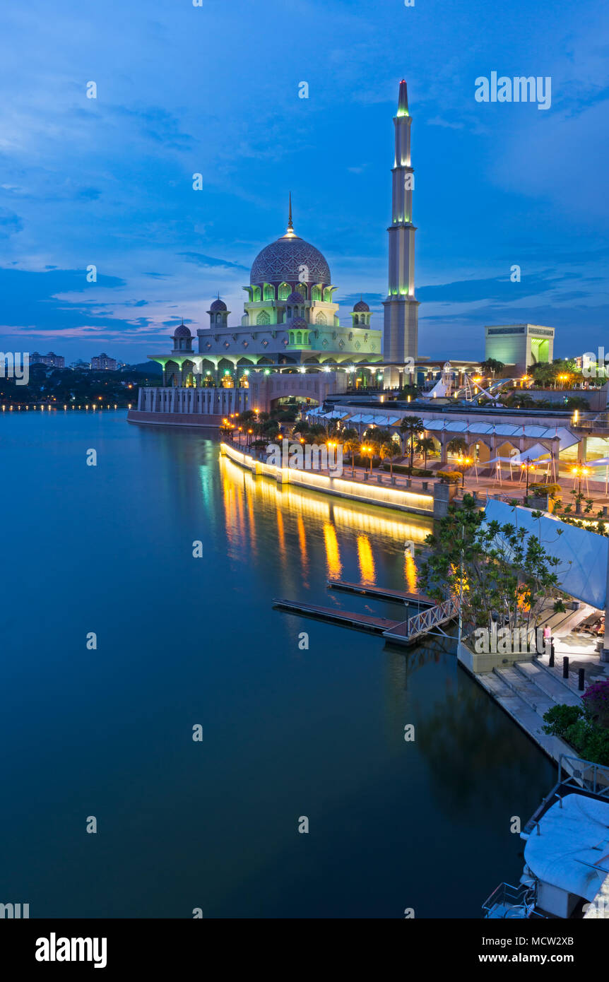 Night view of Putrajaya Mosque in Federal territory on Malaysia - Stock Image