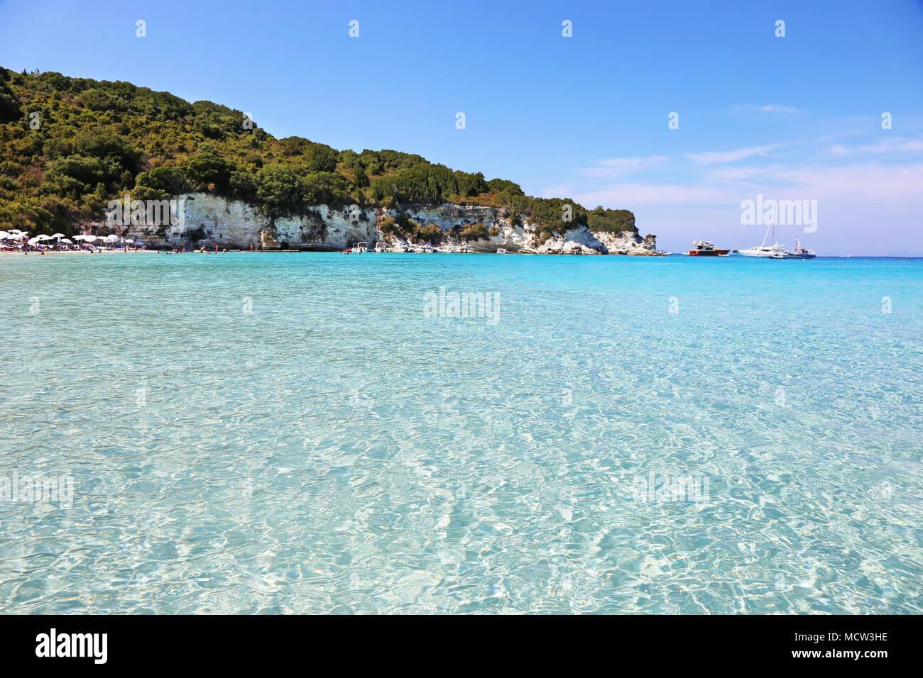 landscape of Voutoumi beach at Antipaxos island Greece - Stock Image