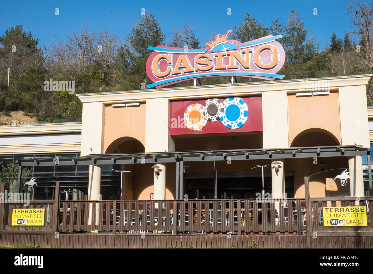 Exterior Of Outside Casino Structure Design On Roadside In Countryside Rural Location Near Alet Les Bains Aude Region South Of France Europe European Stock Photo Alamy